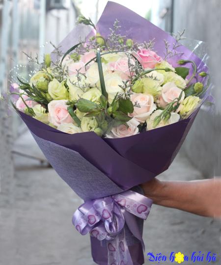 Bó hoa chúc mừng hoa hồng phấn đẹp