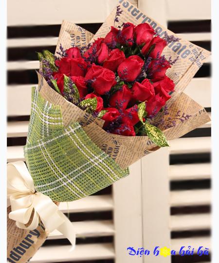 Bó hoa hồng đỏ sang chảnh- Một tình yêu chân thành