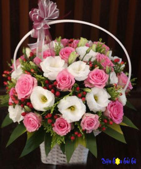 Giỏ hoa tặng cô ngày 20/11 hoa hồng sen