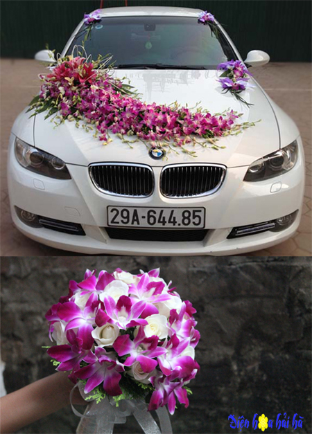 Trọn bộ trang trí xe hoa cưới & hoa cầm tay cô dâu tông mầu tím