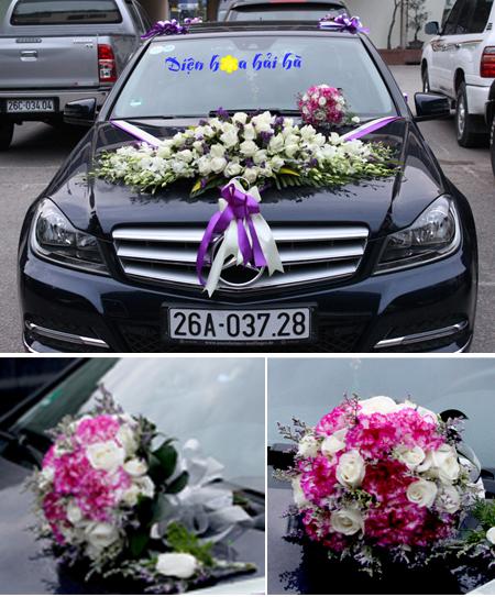 Trọn bộ trang trí xe hoa cưới & hoa cầm tay cô dâu (bộ 2)