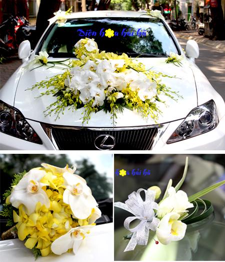 Trọn bộ trang trí xe hoa cưới & hoa cầm tay cô dâu (bộ 3)