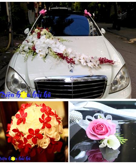 Trọn bộ trang trí xe hoa cưới & hoa cầm tay cô dâu (bộ 4)