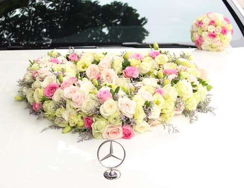 Trọn bộ trang trí xe hoa cưới & hoa cầm tay cô dâu (bộ 5)