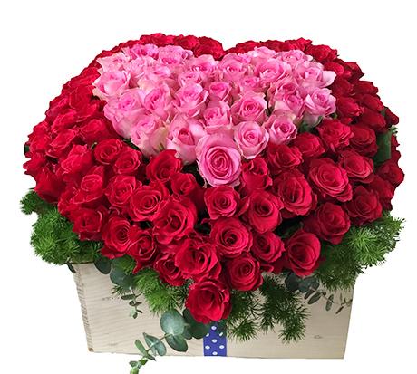 Trái tim thủy chung – Giỏ hoa 2 mầu sắc