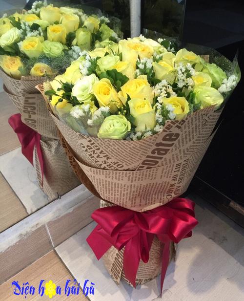 Bó hoa hồng vàng tặng mẹ ngày của mẹ