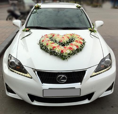 Trang trí xe hoa cưới đẹp hình trái tim bằng hoa cẩm chướng