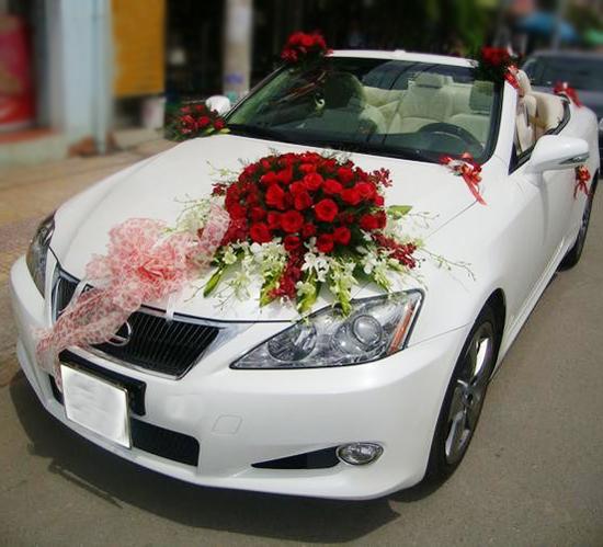 Mẫu trang trí xe hoa cô dâu hồng đỏ lan trắng