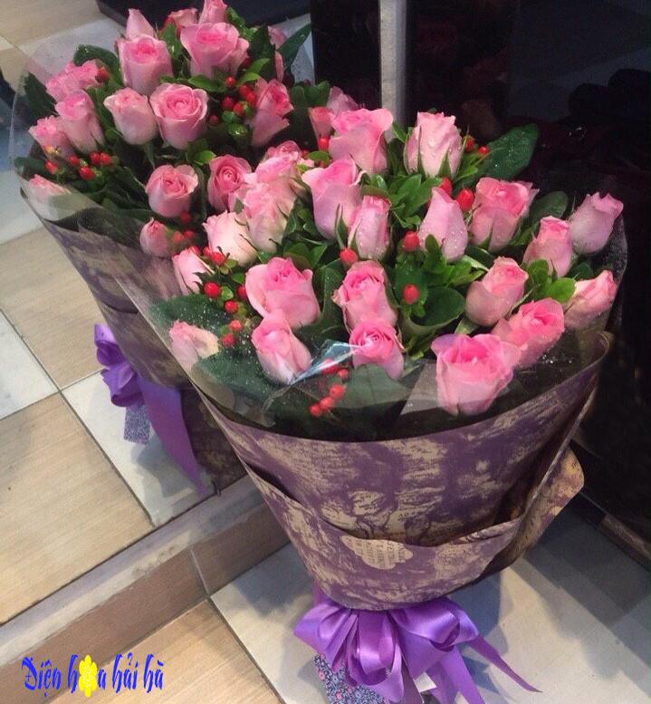 Bó hoa nhẹ nhàng hồng sen