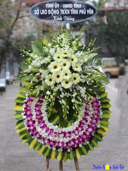 Đặt vòng hoa tang lễ viếng đám tang tại Hà Nội hoa lan trắng lan tím