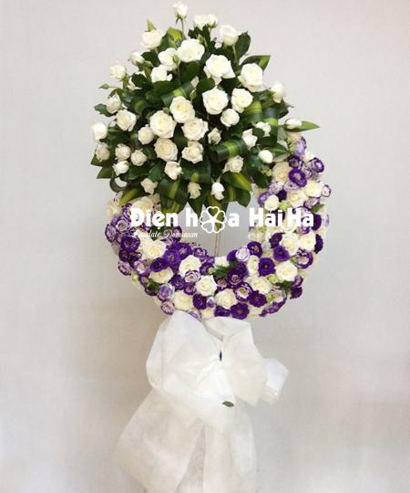 Mẫu vòng hoa đám tang hoa hồng trắng cát tường tím