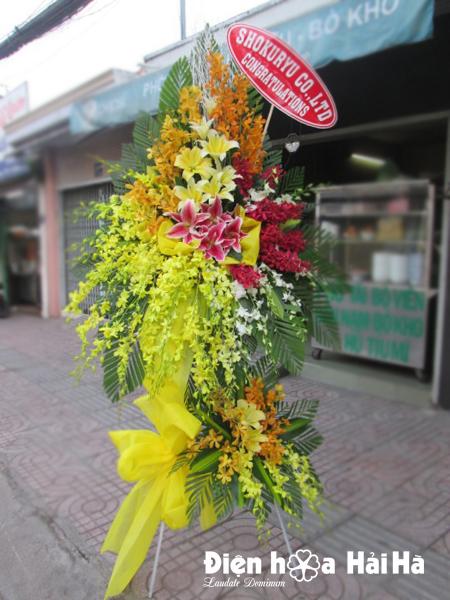 Lẵng hoa mừng khai trương công ty hoa lan