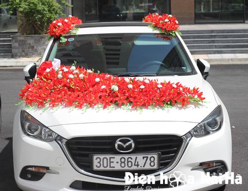 Mua hoa lụa trang trí xe ô tô hoa lan đỏ