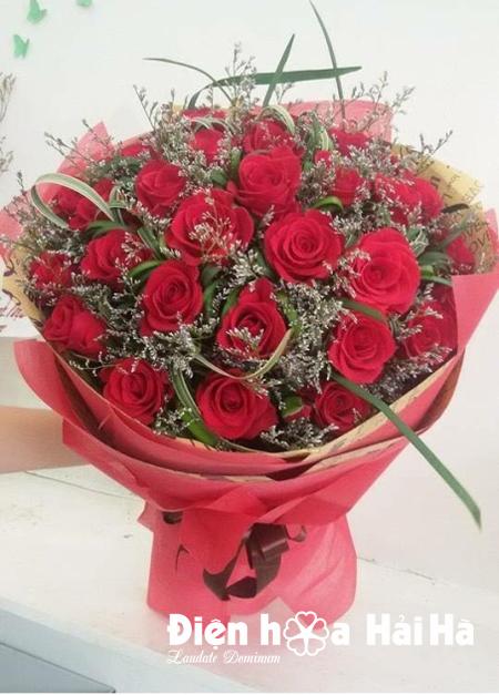 Bó hoa tặng vợ ngày 20/11 hoa hồng đỏ