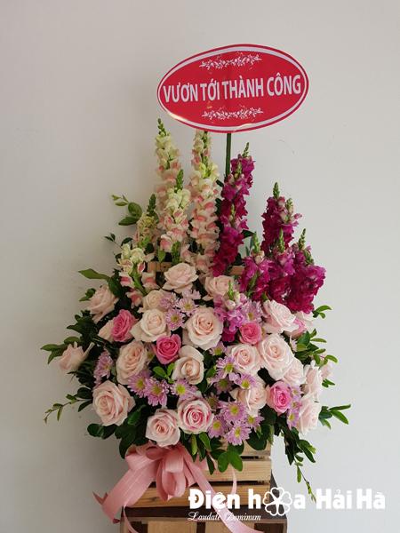 Giỏ hoa mừng ngày 20/11 hoa phi yến hồng kem