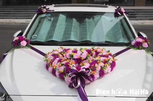 Bán hoa giả trang trí xe hoa hoa hồng phấn