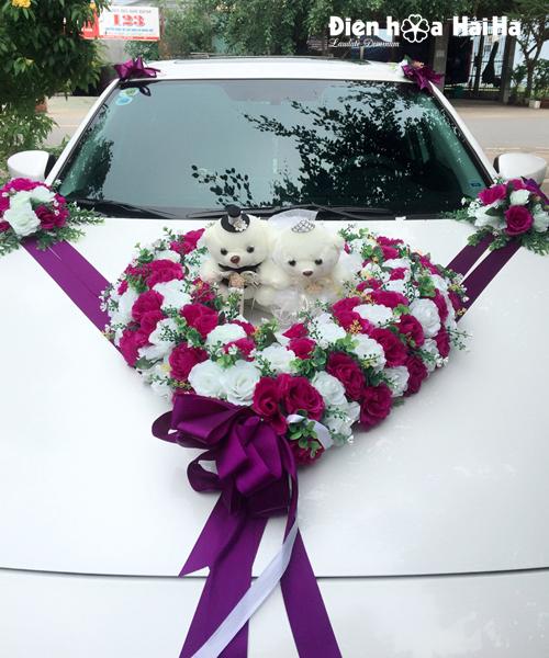 Bộ hoa giả trang trí xe cưới trái tim hoa hồng tím