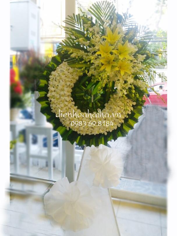 Vòng hoa tang lễ hoa lan trắng