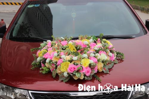 Bộ hoa giả trang trí xe đám cưới hình trái tim hoa mẫu đơn