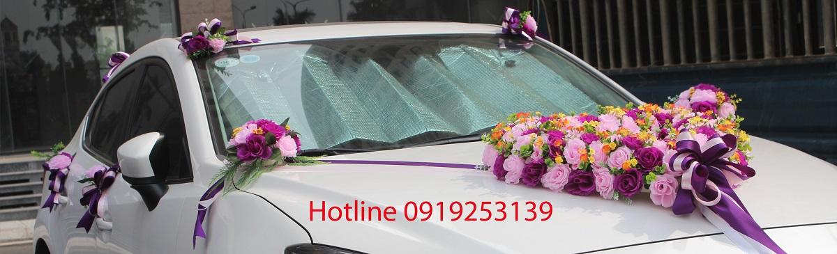 Bộ hoa giả trang trí xe cưới