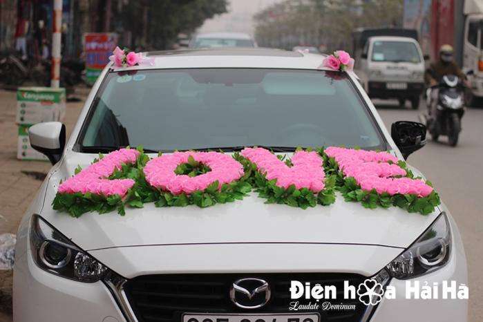 Bán hoa giả trang trí xe ô tô chữ LOVE
