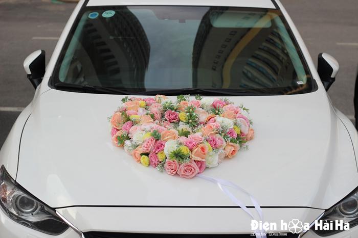 Bán bộ hoa lụa cao cấp kết xe cưới