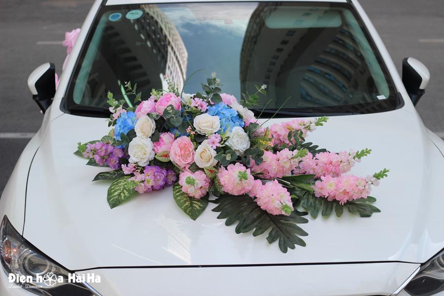 Bộ hoa giả trang trí xe cưới hoa phi yến