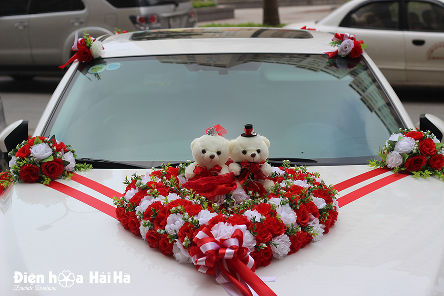 Bán bộ hoa lụa kết xe cưới hồng đỏ hồng trắng