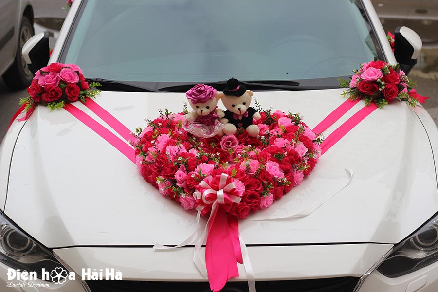 Bán bộ hoa giả kết xe cưới hồng sen hồng phấn