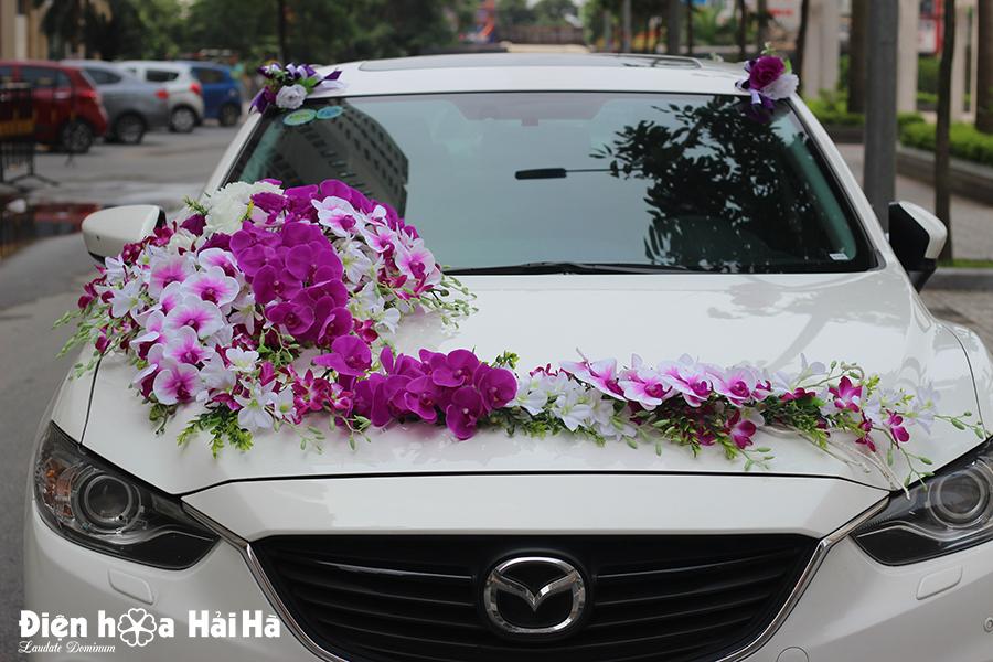 Bán hoa giả trang trí xe cưới hoa lan
