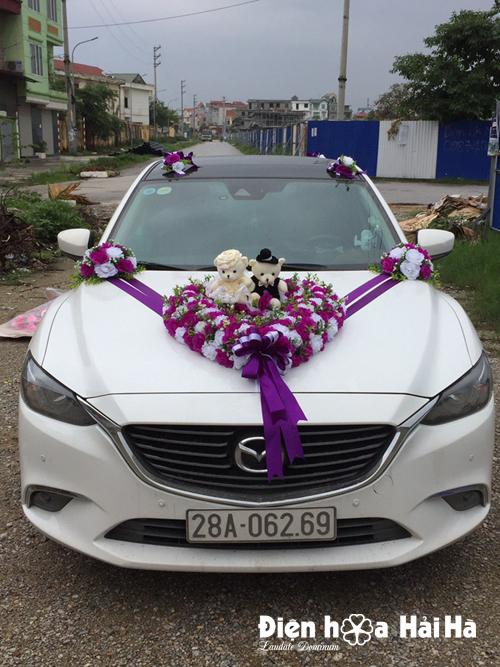 Bộ hoa lụa kết xe cưới hồng tím trắng
