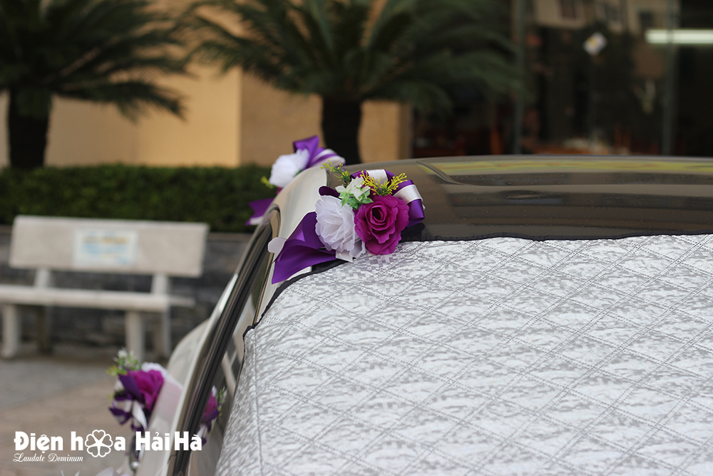 Bộ hoa lụa kết xe cưới lan tím trắng