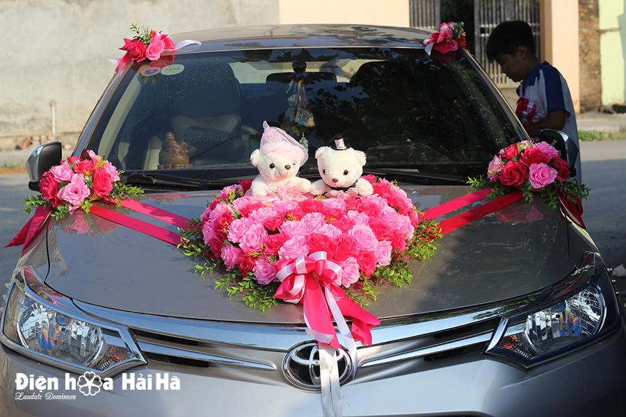 Bộ hoa giả cho xe cưới giá rẻ hồng sen hồng phấn