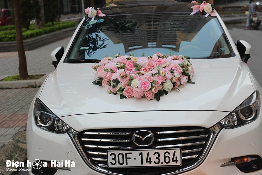 Bộ hoa lụa cao cấp kết xe cưới hình trái tim