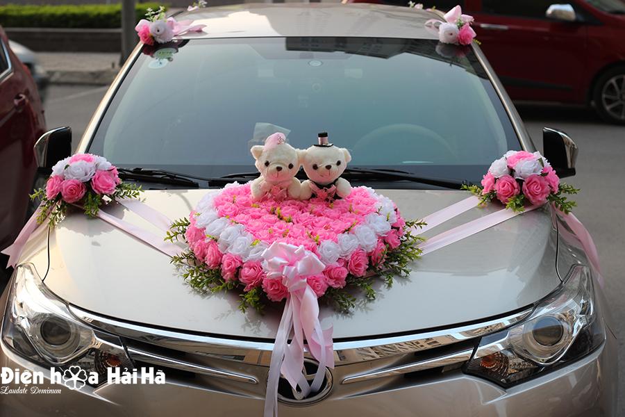 Bộ hoa lụa kết xe cô dâu trái tim hồng phấn hồng trắng