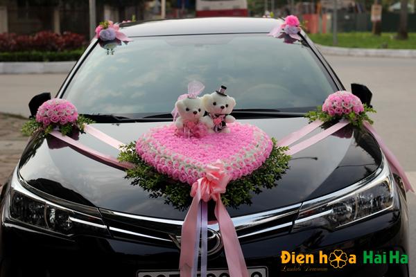 Bộ hoa lụa trang trí xe cưới mầu hồng phấn