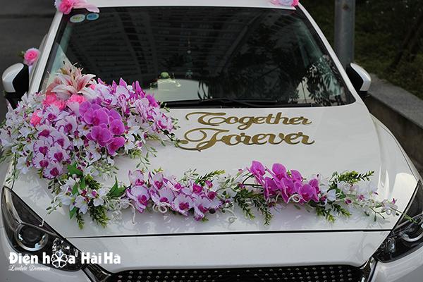 Bộ hoa giả gắn xe cưới lan hồng