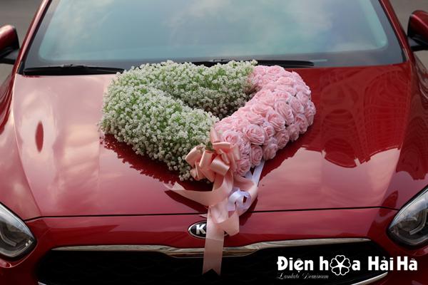 Hoa lụa cho xe cưới baby trắng hồng phấn