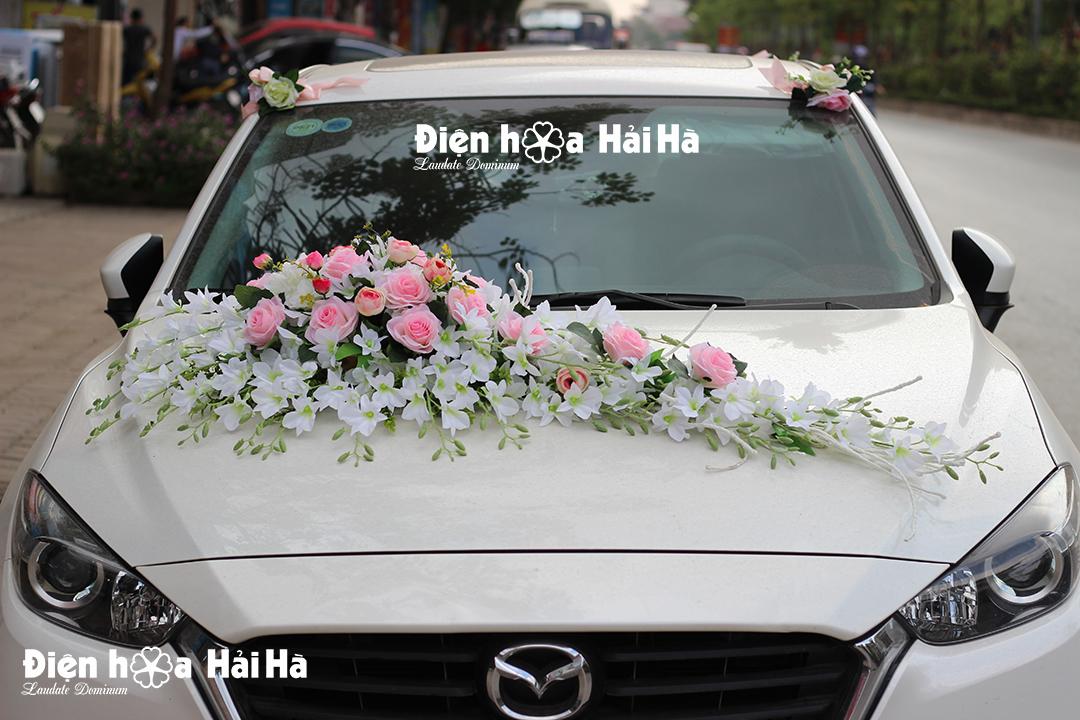 Bộ hoa lụa gắn xe cưới hoa lan trắng hồng sen đẹp