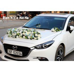 Trang trí xe cưới bằng hoa giả - Hoa xe cưới dải ngang