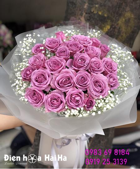 Bó hoa hồng tím- Mãi thủy chung