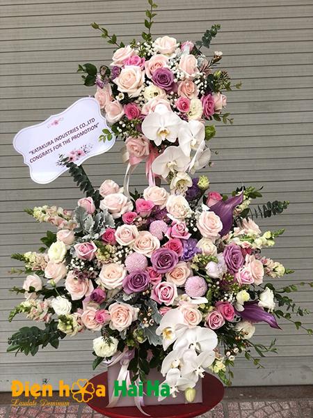 Giỏ hoa 2 tầng hồng tặng ngày Báo chí CM VN