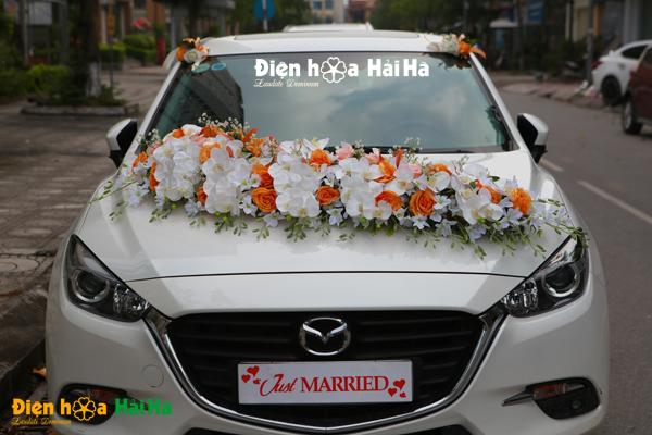 Hoa lụa trang trí xe cưới hồ điệp trắng hồng cam