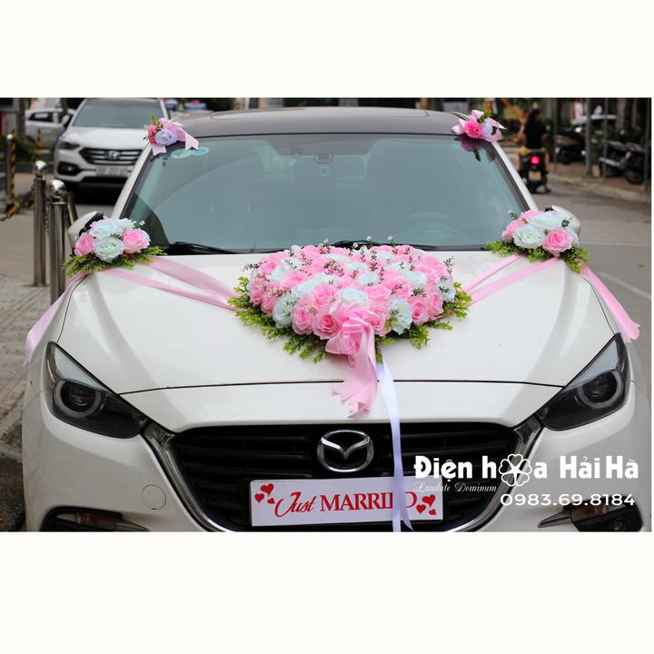 Bán hoa giả cho xe cưới mầu hồng bông to