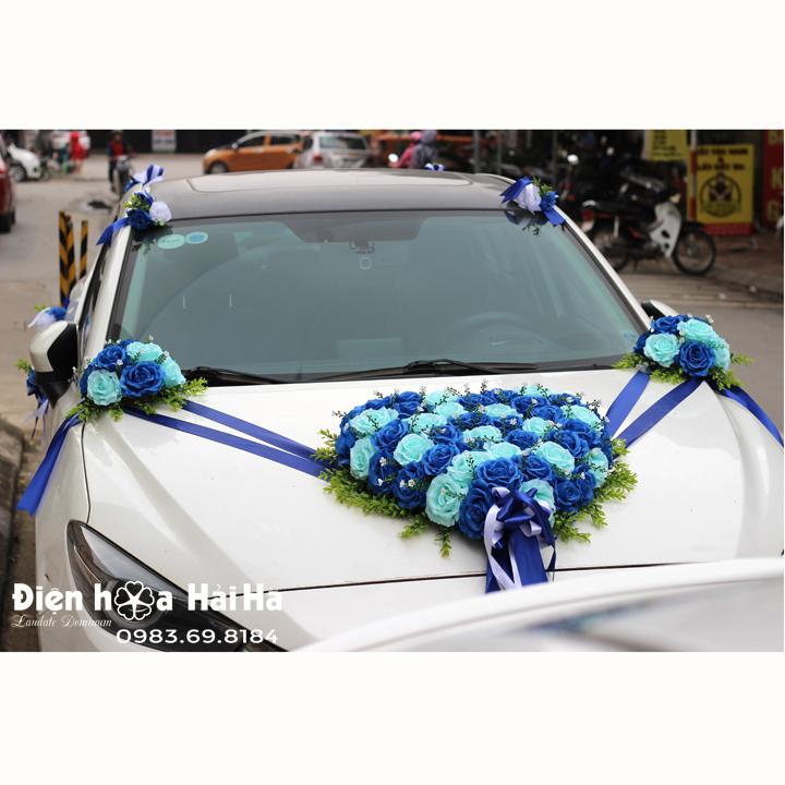 Bộ hoa giả cho xe cô dâu mầu xanh dương