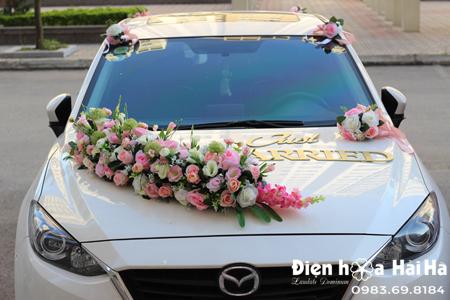 Bộ lụa trang trí xe cưới xe cô dâu thanh lịch