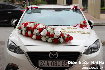 Bộ hoa lụa cho xe cô dâu hồng đỏ trắng