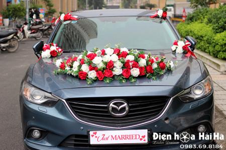 Bộ hoa lụa trang trí xe cưới hồng đỏ trắng kèm chữ