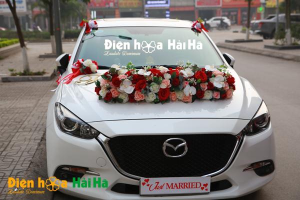 Bộ hoa xe cưới bằng lụa mầu cam đỏ