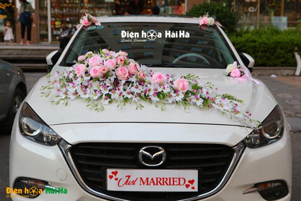 Hoa lụa trang trí xe cưới lan nhụy tím hồng phấn